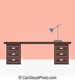 Flat design table and lamp