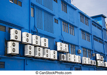 Airconditioners on Blue Building - Image of aircondition...