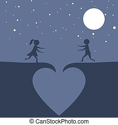 Couple falling in love - Funny illustration of a couple...