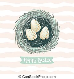 Easter greeting card vector illustration with little bird...