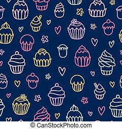 Cupcakes outlined colorful seamless pattern on blue background