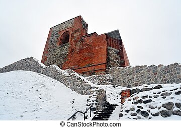 Upper castle keep on Gediminas Hill is a part of Vilnius...