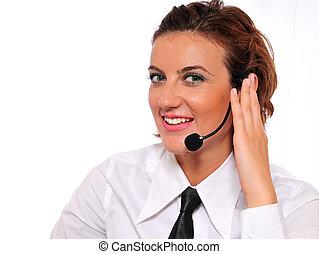 Cute Call Representative - A pretty female call...