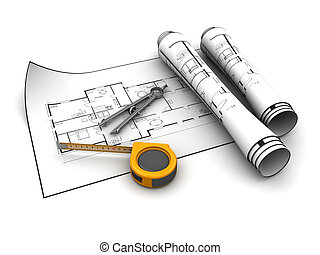 blueprint and tools - 3d illustration of blueprints with...