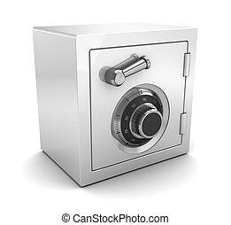 white plastic safe - 3d illustration of white plastic safe...