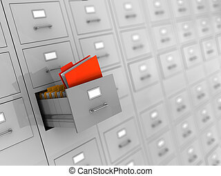 archive - 3d illustration of archive with finded folder