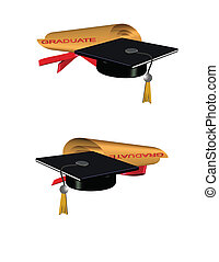 golden grad roll diploma - 3d grad hat and diploma on white...