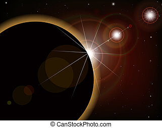 Eclipse 1 - Eclipse - Fantacy Space scene, highly detailed...