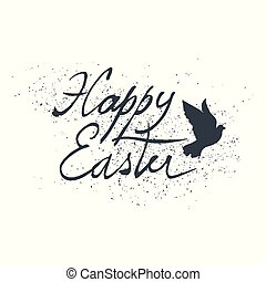 Easter Retro Design with Bird Silhouette. Hand drawn, grunge...