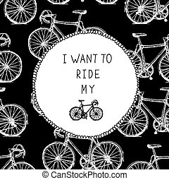 Bicycle Hand Drawn Card. Black and White Colors