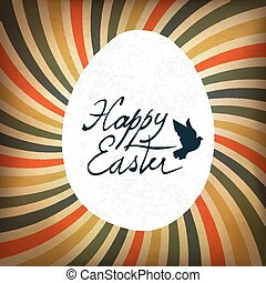Happy Easter Card with Colorful Rays