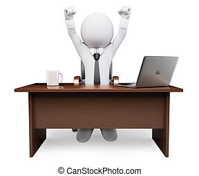 3D white people. Businessman with arms raised. Success - 3d...
