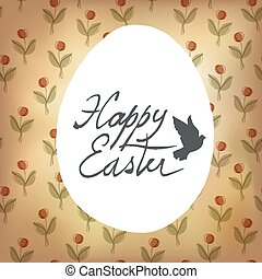 Happy Easter Card with Spring Flowers