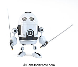 Robot with Katana. Technology concept. Isolated over white....
