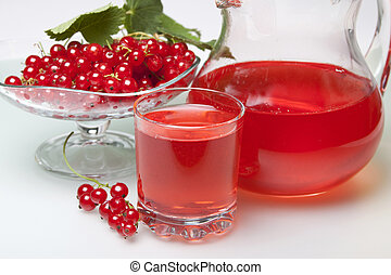 Morse of red currants in a pitcher and a glass, and currants...