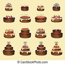 Cakes set - Set of sixteen cakes. Vector illustration