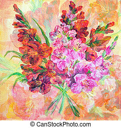 Bouquet Of Gladiolus Flowers - Picture Oil Painting on a...