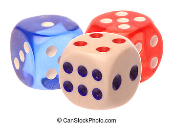 Dice Macro Isolated - Isolated macro image of colourful dice...