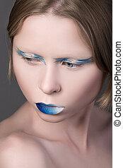 bonito, azul, jovem, lábios, Retrato, menina