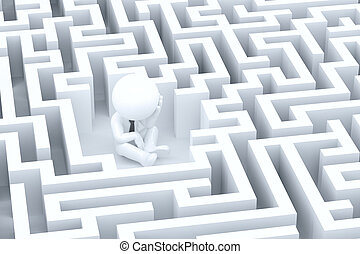 A desperate businessman in a maze