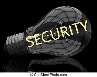 Security - lightbulb on black background with text in it. 3d...