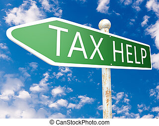 Tax Help - street sign illustration in front of blue sky...