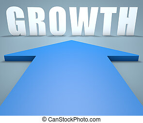 Growth - 3d render concept of blue arrow pointing to text.