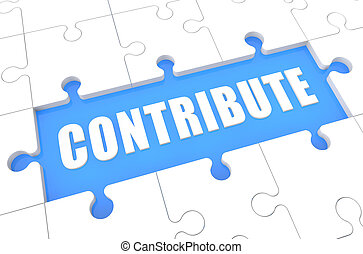 Contribute - puzzle 3d render illustration with word on blue...