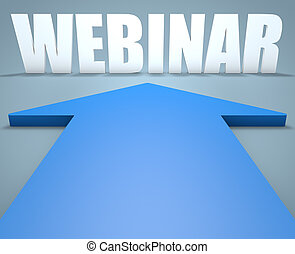 Webinar - 3d render concept of blue arrow pointing to text