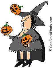 Witch juggling pumpkins - This illustration depicts a...