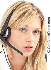 Headset nah - Fragender Blick am Headset