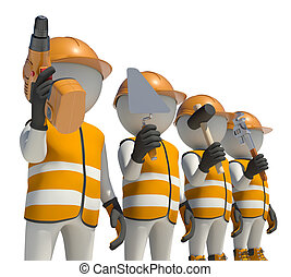 Workteam in special clothes and helmet holding tools....
