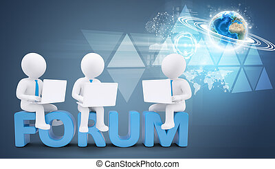 Team of white people with ties and laptops sitting on forum. Background earth globe