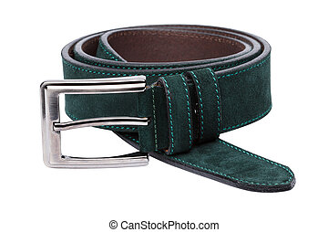 Green men leather belt isolated on white background