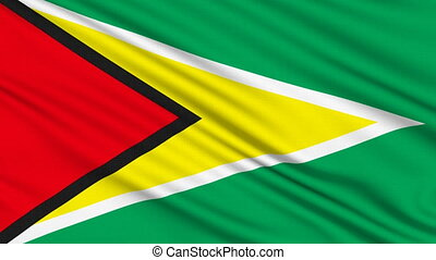 Guyana Flag, with real structure of a fabric