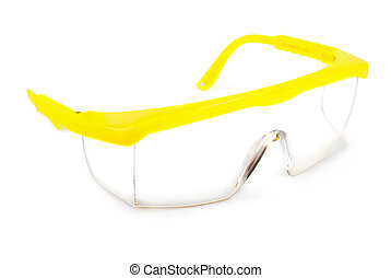 Safety glasses on a white background