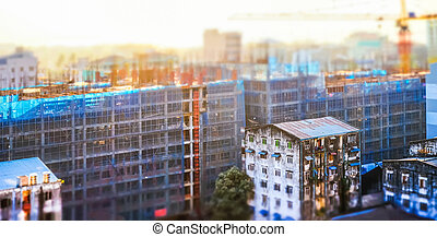 Cityscape panorama view of building construction at sunrise...