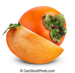 Persimmon - Fresh Persimmon fruit isolated on a white...