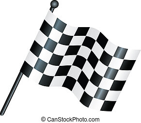 chequered flag - simple icon style illustration of a...