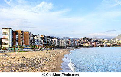 Malaga - Malagueta beach in Malaga, Costa del Sol, Spain