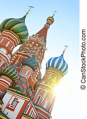 Moscow - St. Basil's cathedral on Red Square in Moscow,...