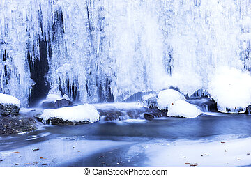 winter landscape with frozen waterfall - Beautiful winter...