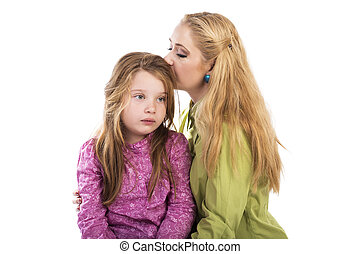 Young mother kissing her lovely daughter over white...