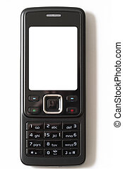 Cell phone - Black glossy cell phone with blank white screen...