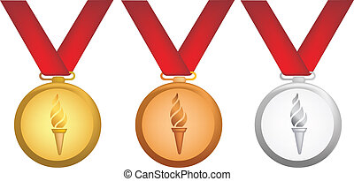 olympic medals - simple icon style illustration of olympic...