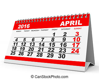 Calendar April 2016 - Calendar April 2016 on white...