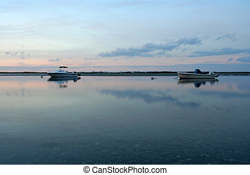 Sunset over Cape Cod Bay. Photographed near Yarmouth, MA in...