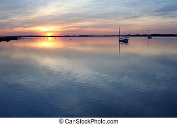 Sunset over Cape Cod Bay. Photographed near in May 2010.