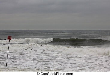 High surf generated by wind swell Photographed in Rockaway...