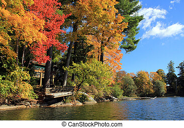 Lake view of Berkshire fall foliage - Berkshire fall foliage...